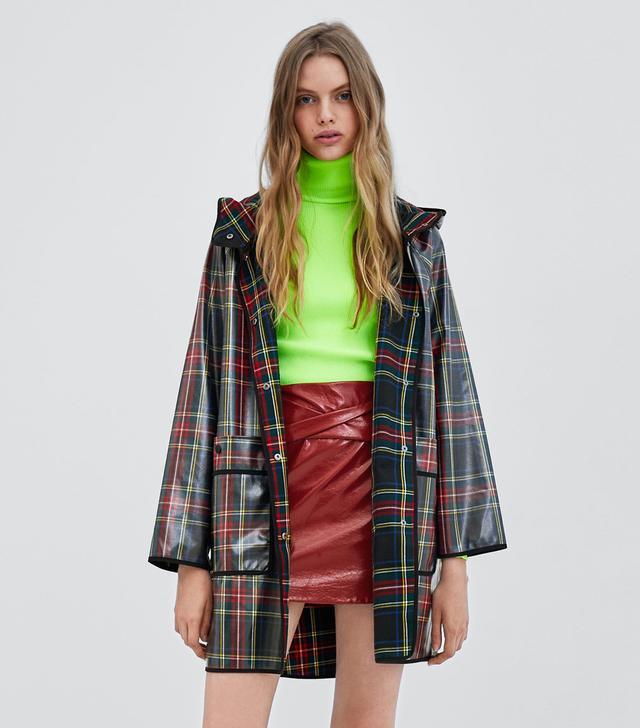 Zara Plaid Rubberized Rain Coat