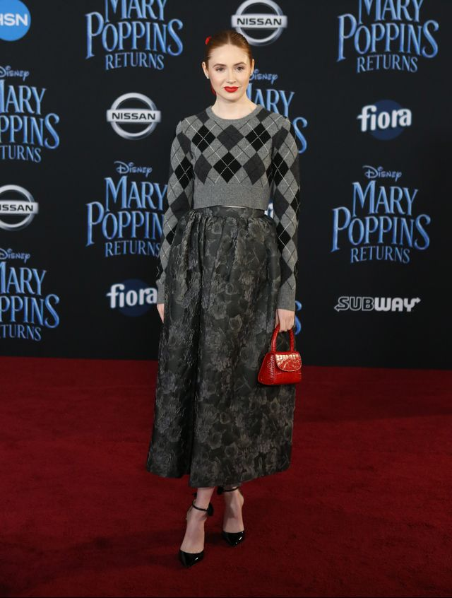 <p><strong>WHO:</strong> Karen Gillan<br /><br /><strong>WEAR: </strong>Michael Kors Collection top and skirt</p>