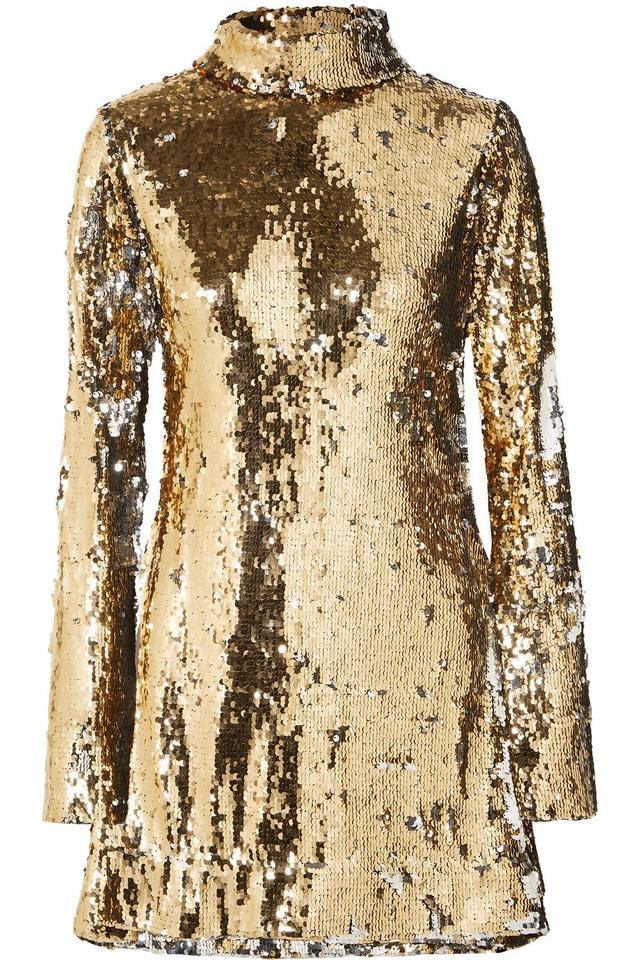 HALPERN Sequined Tulle Turtleneck Mini Dress