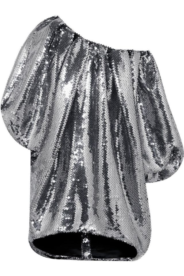 HALPERN Off-the-shoulder Sequined Tulle Mini Dress