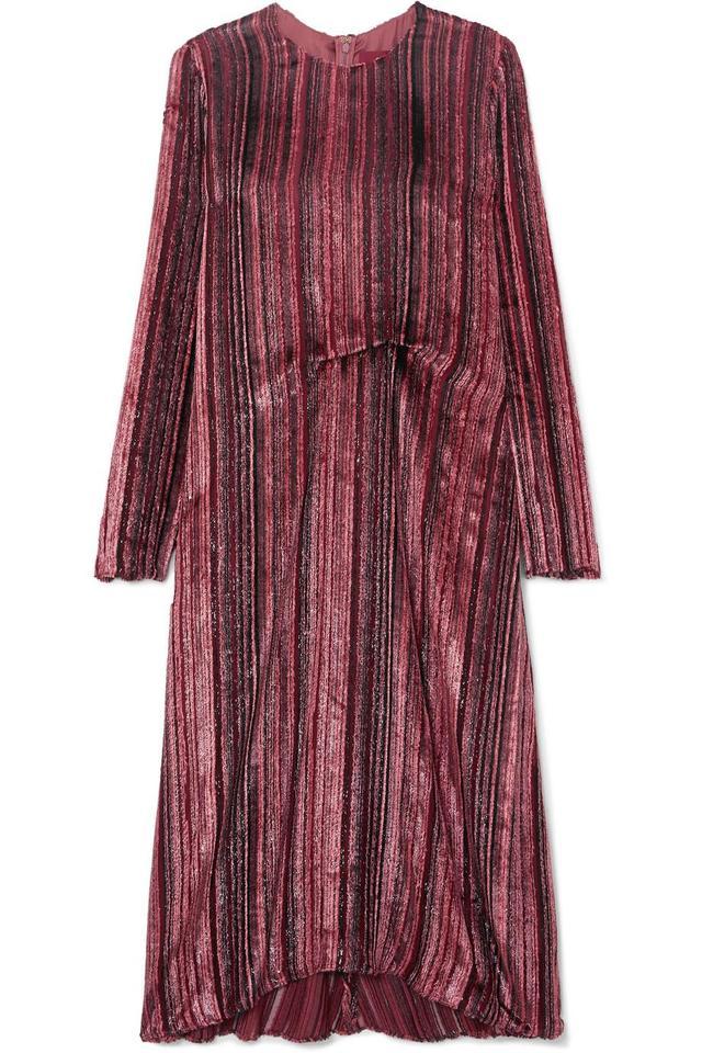Sies Marjan Maude Metallic Devoré-velvet And Chiffon Midi Dress
