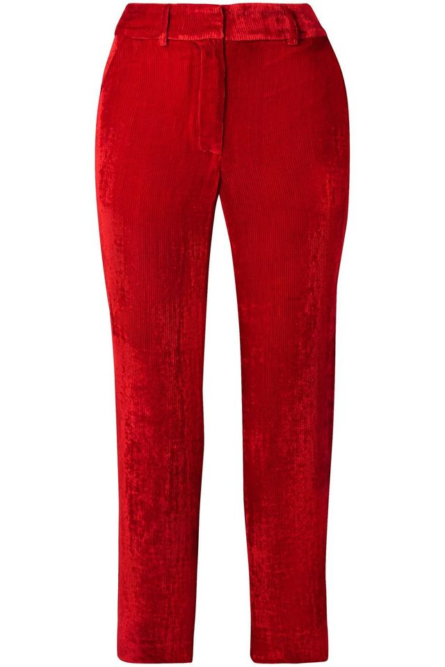 Sies Marjan Willa Cropped Silk And Cotton-blend Corduroy Straight-leg Pants