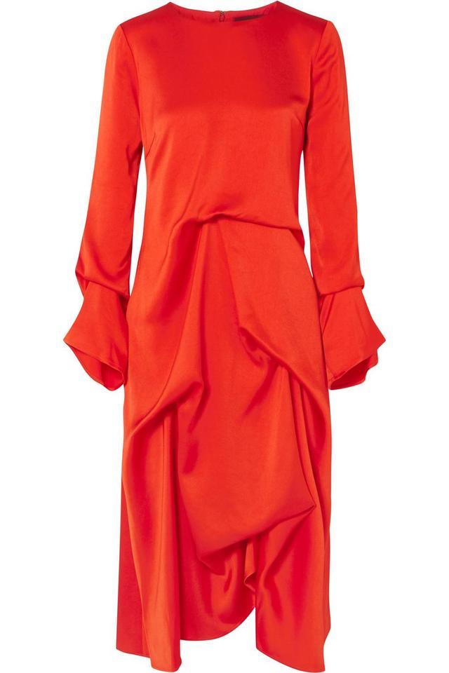 Sies Marjan Noemi Draped Silk-satin Midi Dress