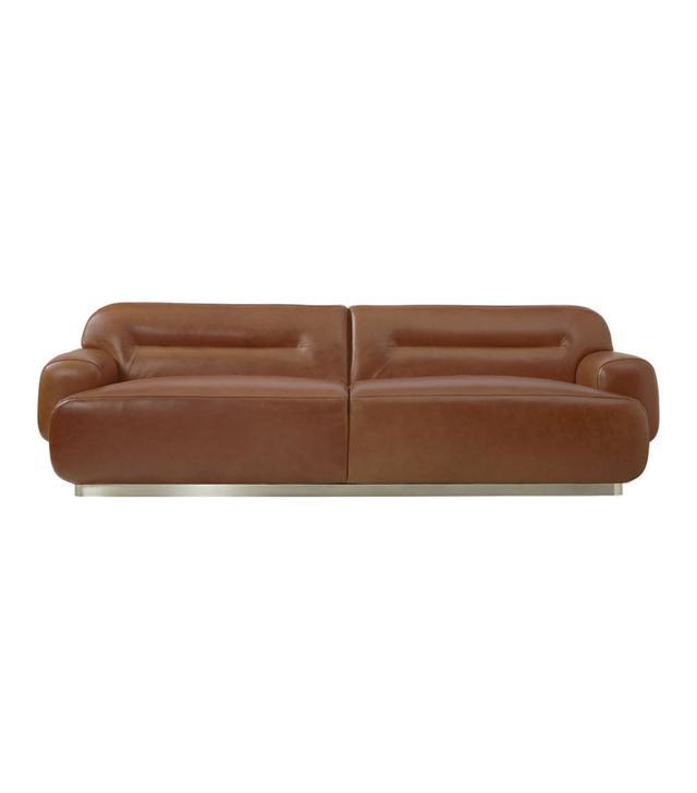 CB2 Logan Brown Leather Sofa