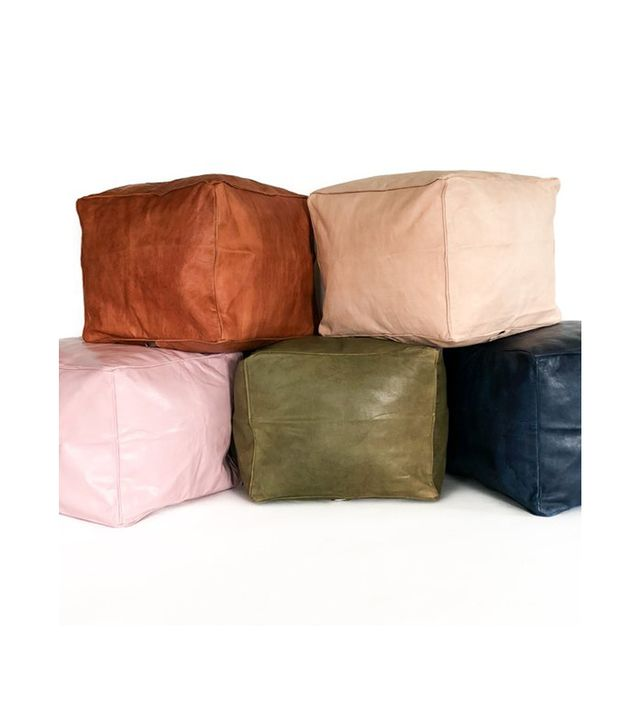 Heddle And Lamm Small Square Leather Moroccan Pouf