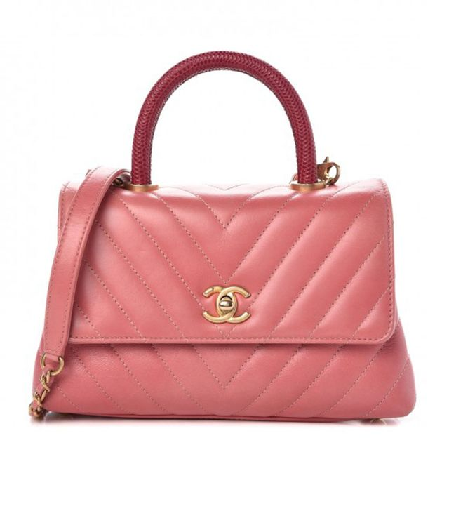 Chanel Calfskin Chevron Quilted Mini Coco Handle Bag