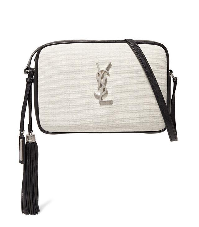 Saint Laurent Lou Canvas and Leather Shoulder Bag