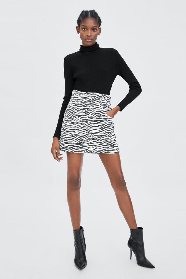 Zara Zebra Print Mini Skirt