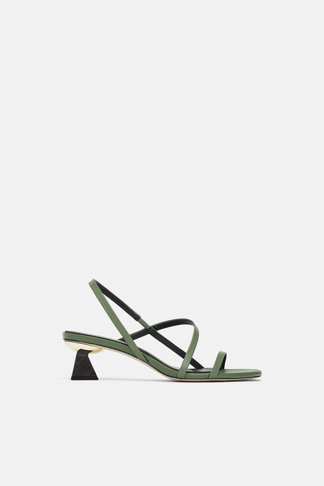 Zara Wood-Effect Heel Sandals