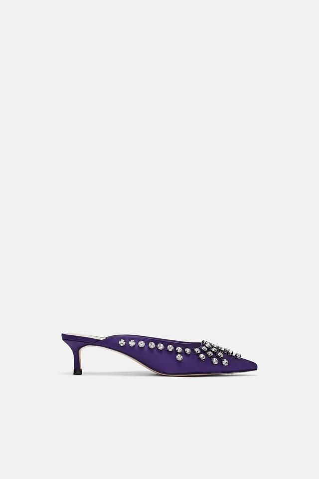 Zara Bejeweled High-Heel Mules