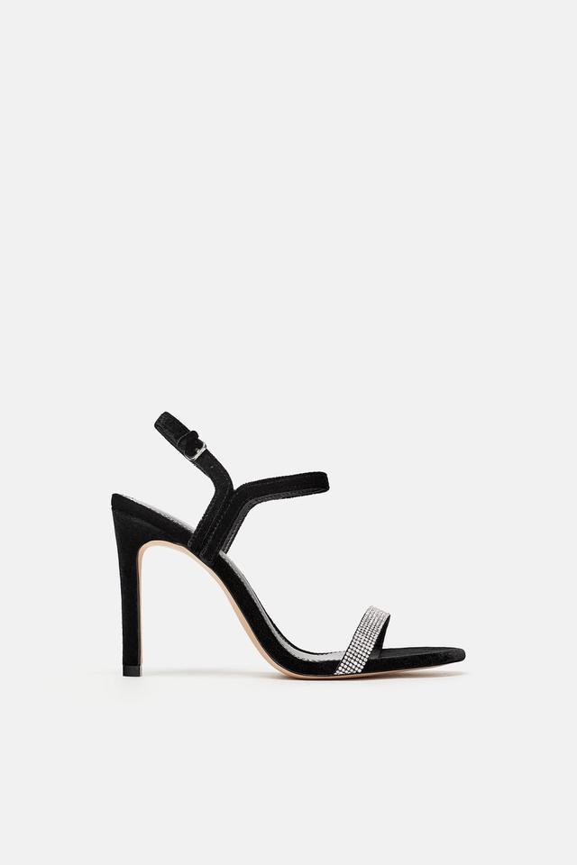Zara Bejeweled Velvet Sandals