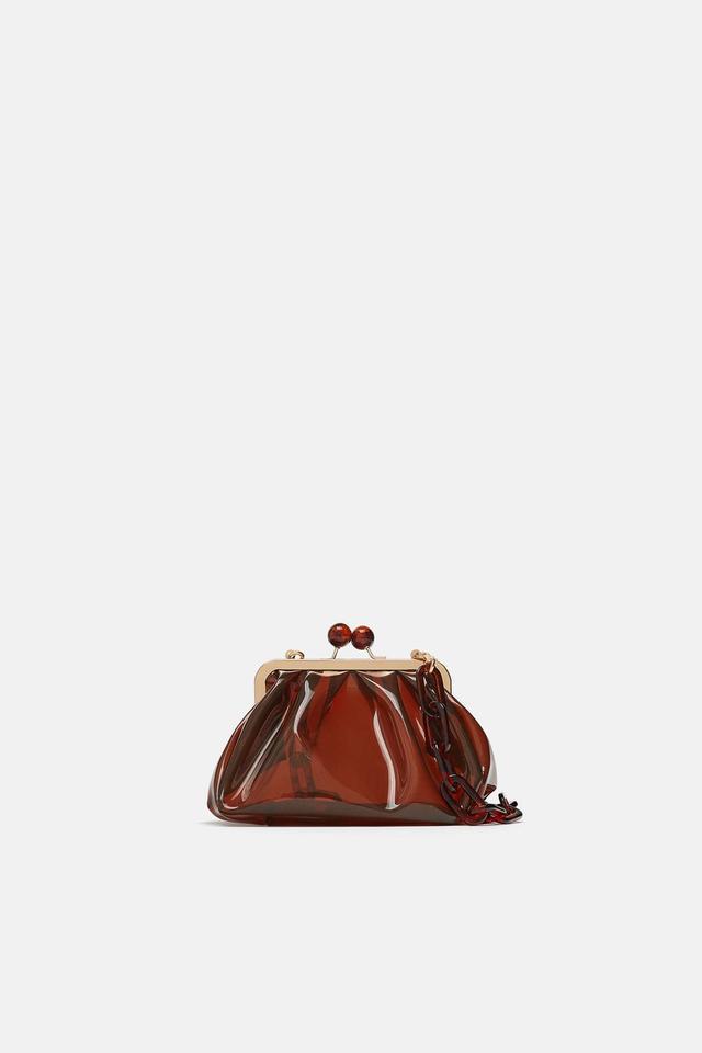 Zara Vinyl Crossbody Bag With Kiss Lock Closure