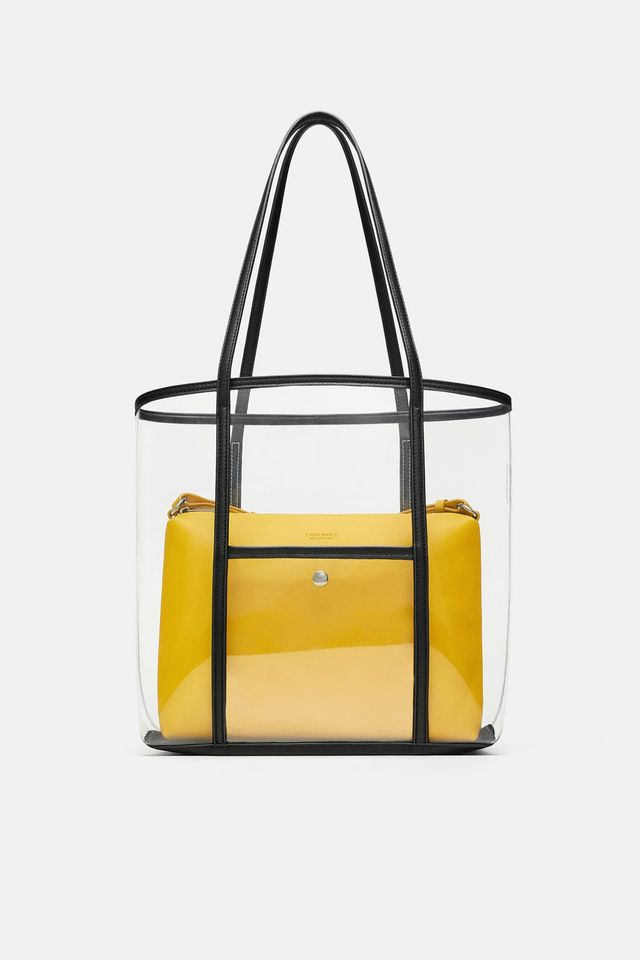 Zara Vinyl Tote Bag With Inner Crossbody Bag