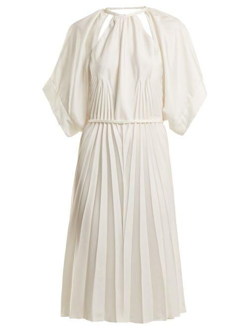 Maison Margiela Pleated Cut Out Satin Dress