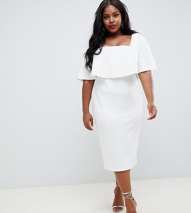 ASOS Curve Midi Dress With Double Layer and Square Neck