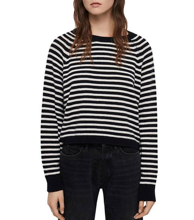 AllSaints Marcel Striped Cropped Sweater