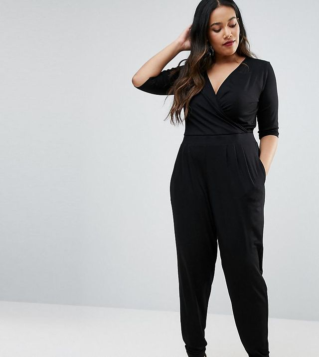 ASOS Curve Wrap Jumpsuit with 3/4 Sleeve