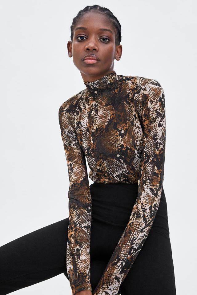 Zara Semi-Sheer Printed Top