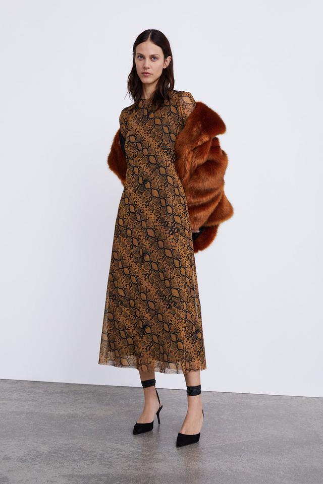 Zara Long Animal Print Dress
