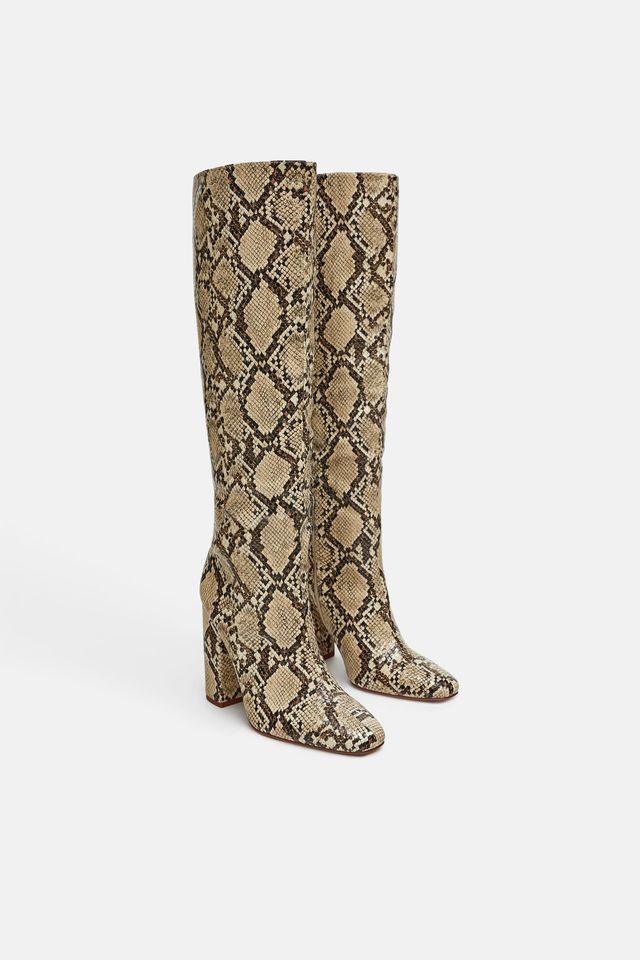Zara Heeled Printed Snakeskin Boots