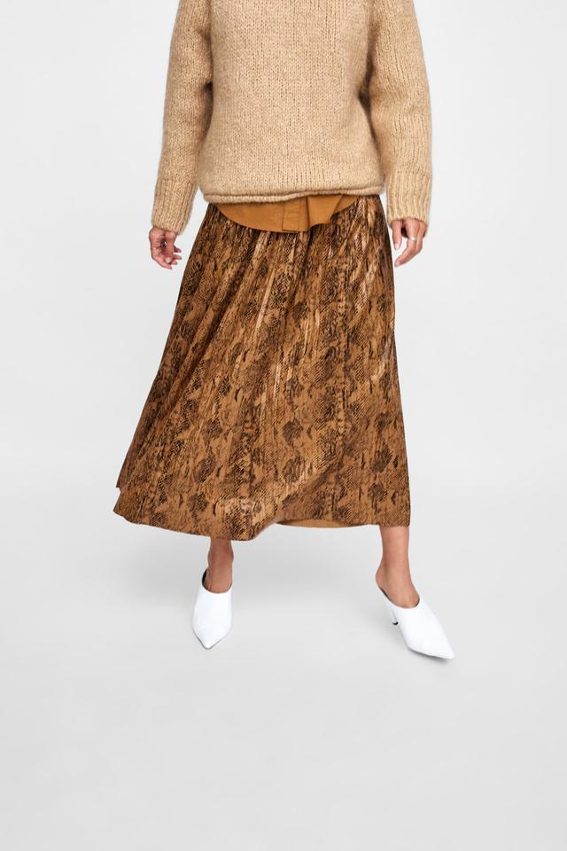 Zara Snake Print Pleated Midi Skirt