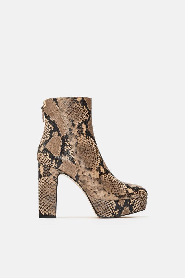 Zara High Heel Animal Print Platform Leather Ankle Boots