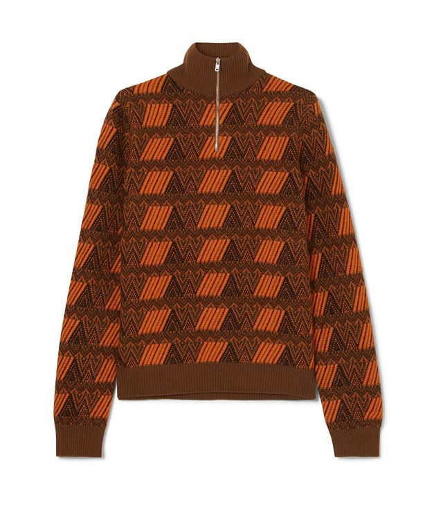 Prada Intarsia Wool and Cashmere-Blend Sweater