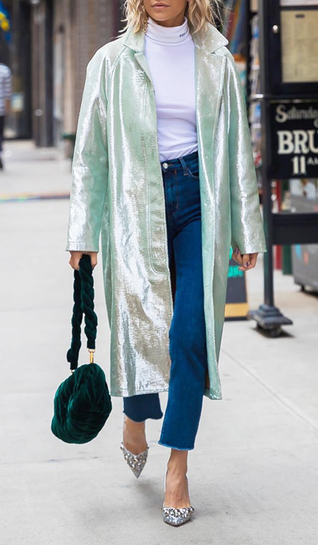 Iridescent Outerwear Street Style