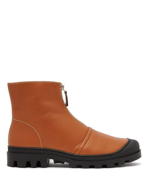 Loewe Zipped Leather Ankle Boots