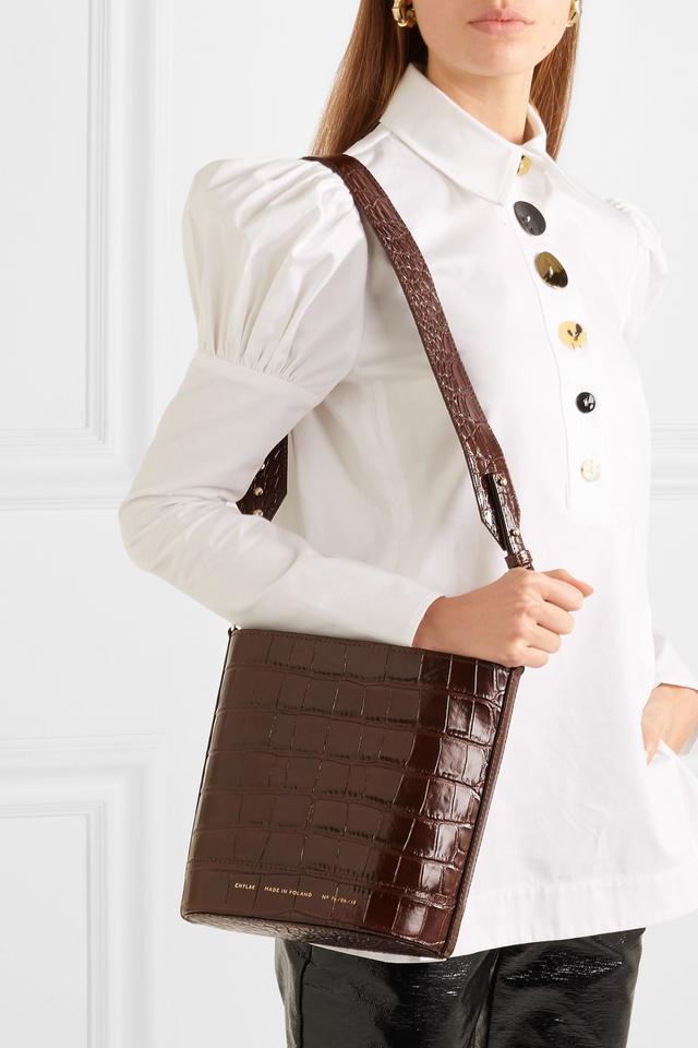 Chylak Cylinder Croc-Effect Glossed-Leather Shoulder Bag