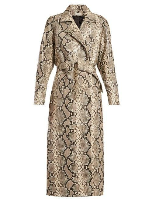 Attico Python Print Belted Leather Coat