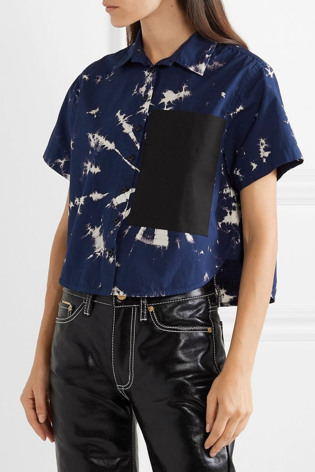 Proenza Schouler Cropped Tie-Dyed Cotton-Poplin Shirt