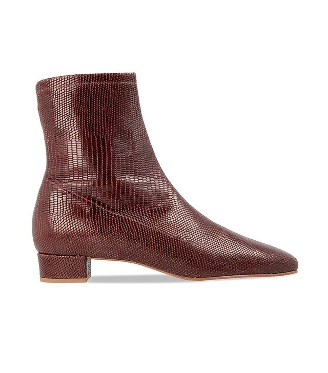 By Far Este Brown Lizard Embossed Leather Boots