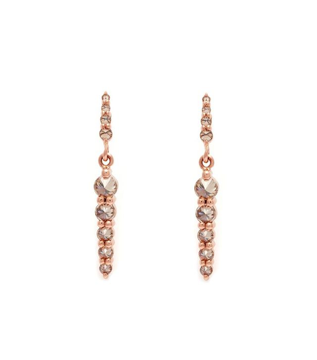 Anna Sheffield Double Pointe Rose Gold and Champagne Diamond Drop Earrings