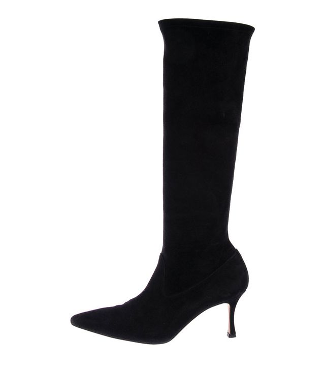 Manolo Blahnik Suede Pointed Boots