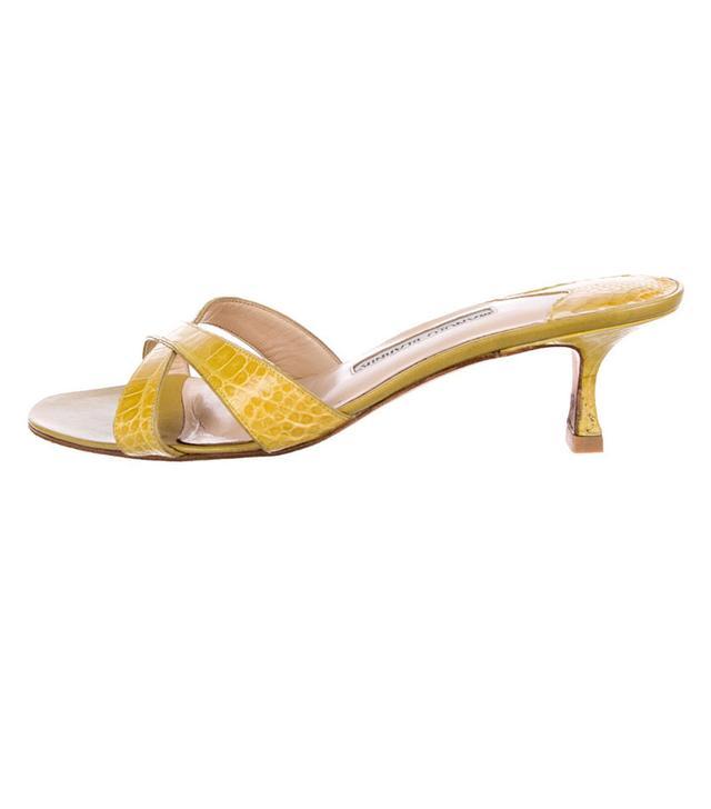 Manolo Blahnik Alligator Slide Sandals