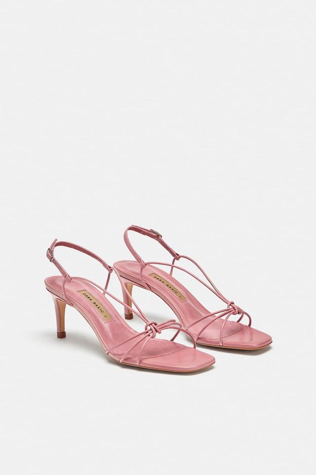 Zara Leather High-Heel Strappy Sandals