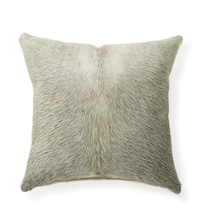 St. Frank Salt and Pepper Cowhide Throw Pillow