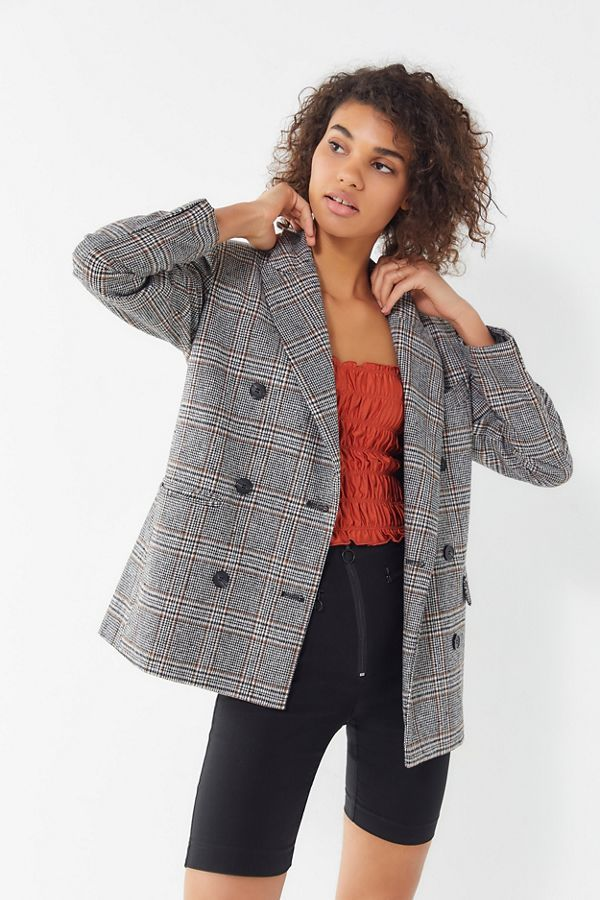 ASTR the Label Plaid Double-Breasted Blazer