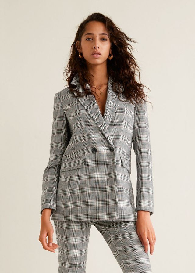 Mango Check Structured Blazer