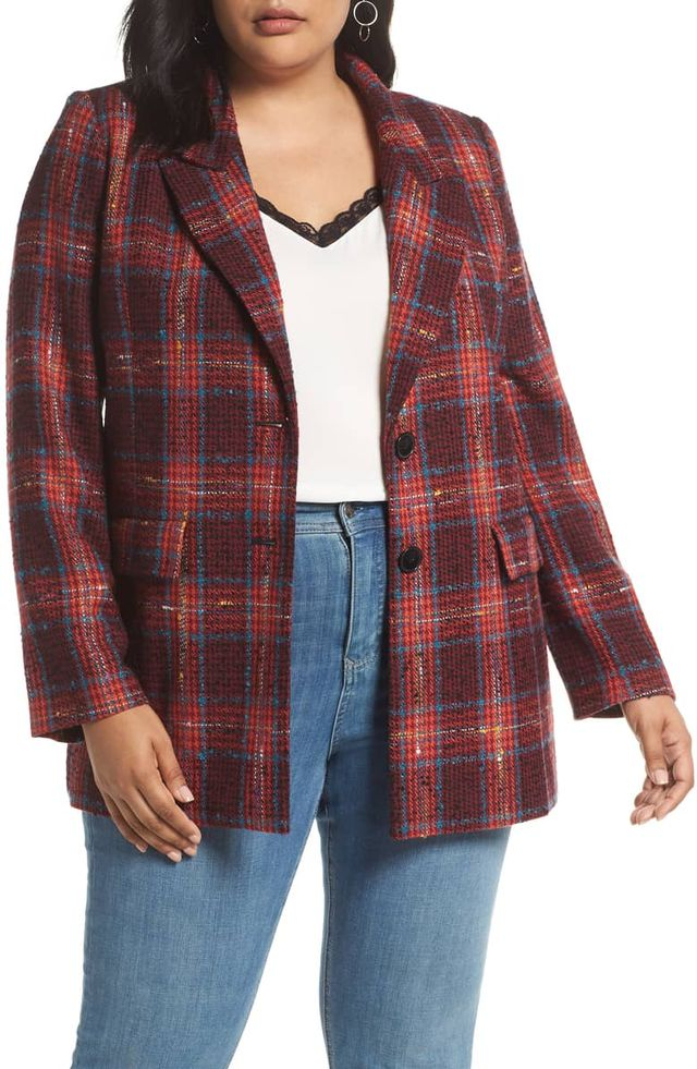Halogen Plaid Tweed Blazer