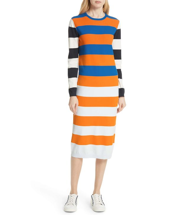 Tory Sport Broad Stripe Tech Knit Midi Dress
