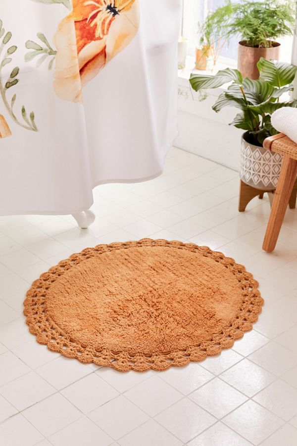 Urban Outfitters Round Crochet Trim Bath Mat