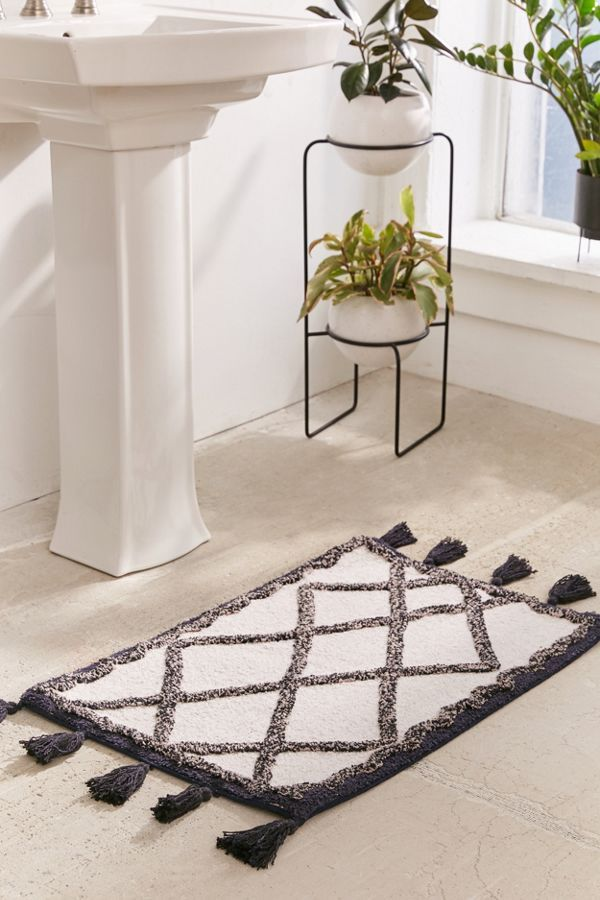 Urban Outfitters Tufted Diamond Tassel Bath Mat