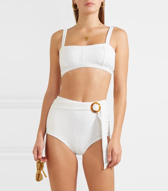 Peony Belted Jacquard-Knit Bikini Briefs