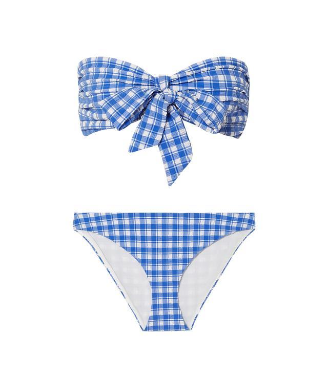 Ganni Jewett Gingham Seersucker Bikini