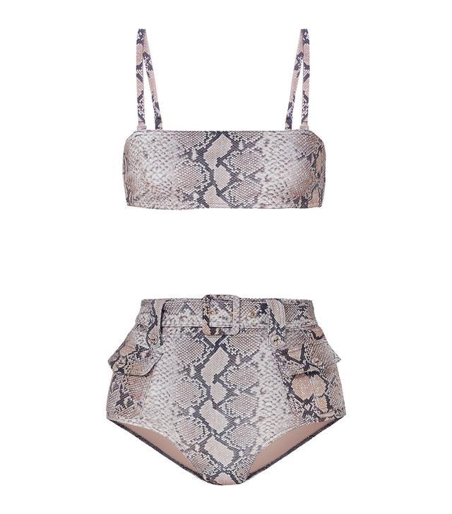 Zimmermann Corsage Safari Snake-Print Belted Bikini