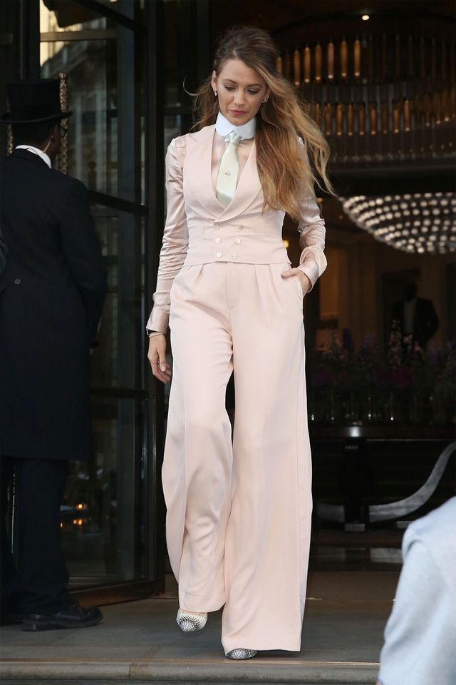 Blake Lively in wide-leg pants