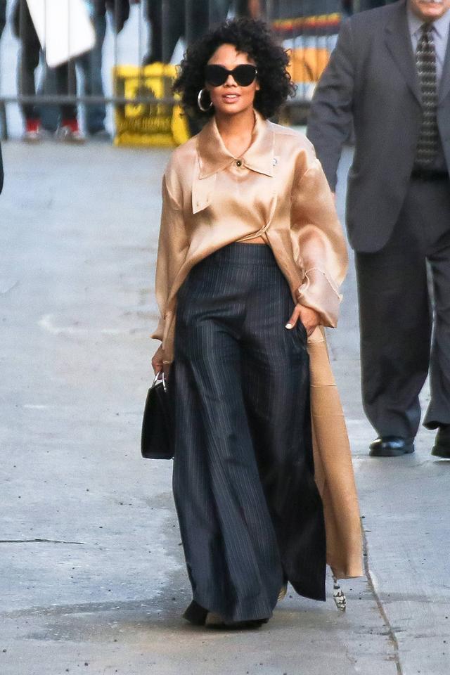 Tessa Thompson in wide-leg pants