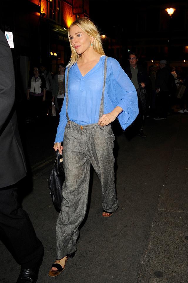 Sienna Miller in wide-leg pants